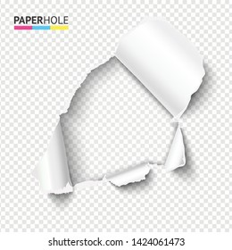 Blank rip paper hole with ripped edge for sale banner to reveal your message. Vector illustration