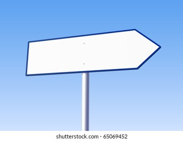 Blank road arrow sign on bright background