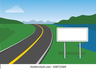blank road sign  with landscape