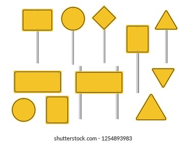 Blank road signs set. Empty yellow street signs. Vector illustration