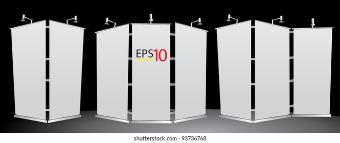 blank roll up banner display Vector template. 3 format for design work