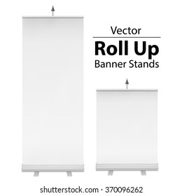 Blank Roll Up Banner Stands. Trade show booth white and blank. 3d vector illustration isolated on white background. Template mockup for your expo design.