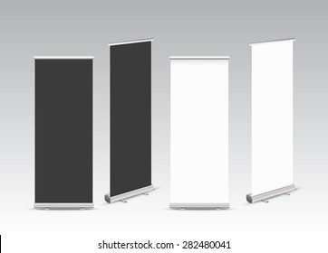 blank roll up banners.Vector illustration.