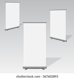 Blank roll up pull banner display. vector illustrations