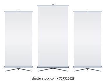 Blank roll-up banner isolated on white background. Set. Design template blank for designers. Flipchart for training or promotional presentation. Vertical. Vector illustration EPS 10