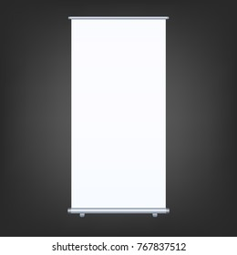 Blank roll-up banner isolated on black background. Design template blank for designers. Flipchart for training or promotional presentation. Vertical. Vector illustration EPS 10