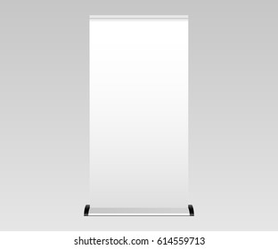 Blank roll-up banner. Mockup for design and showcase your promotional materials and layouts for presentation or exhibition. POS stand banner. Vector illustration