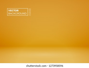 Blank room. Modern abstract gradient yellow background, vector illustration with copy space