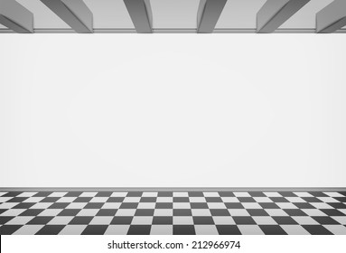 blank room wall with checked paved floor vector illustration