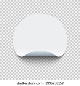 Blank round adhesive sticker mock up with curved corner. Mockup empty circle sticky label on transparent background. Vector illustration.