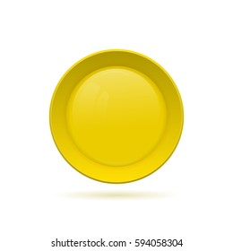 Blank round button for website. 3D glass button. Vector illustration.