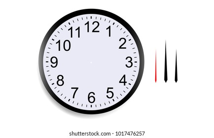 Blank round clock face with hour, minute and second hands isolated on white background. Vector illustration