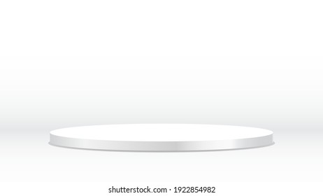 blank round pedestal . white circular awarded winner podium for outstanding luxury product advertising display on white gradient lighting background