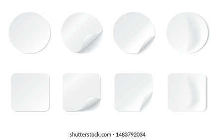 Blank round and square adhesive stickers mock up with curved corner. Mockup empty sticky label or price tags. Realistic textures. Transparent shadows