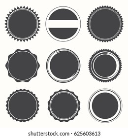 Blank Round Stamps for Logo (Sharp and Rounded edges) - Isolated vector Illustration