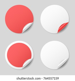 Blank round stickers with curled corners, realistic mockup