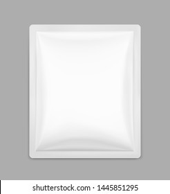 Blank sachet packaging for food, cosmetic and hygiene. Vector illustration on grey background. Ready for your design. EPS10.
