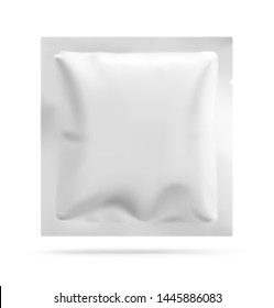 Blank sachet packaging for food, cosmetic and hygiene. Vector illustration on white background. Ready for your design. EPS10.