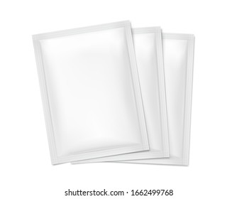 Blank sachet packaging for food, cosmetic and hygiene. Vector illustration isolated on white background. Ready for your design. EPS10.