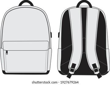 Leere Schultasche, Vorderseite und Rückseite einzeln auf Weiß