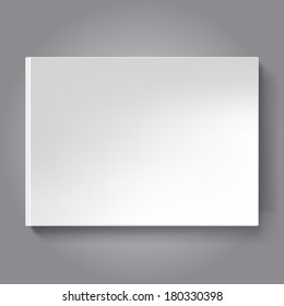 Blank scrapbook cover template. Horizontal oriented book isolated on dark background.