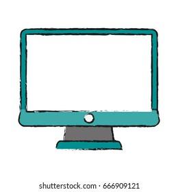 blank screen computer monitor vector illustration design