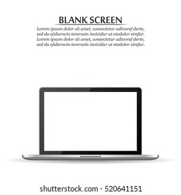 Blank screen. Realistic laptop on a white background with shadow