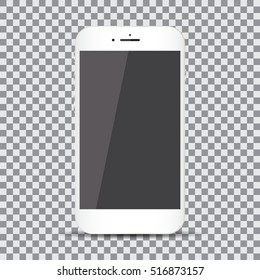 Blank screen. Realistic white smartphone on a transparent background