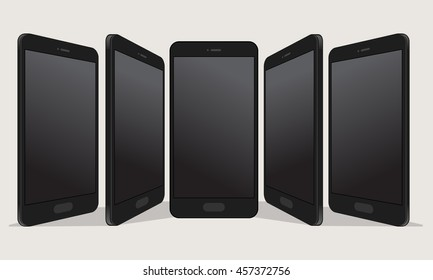 Blank screen of smartphone in the different perspective view.