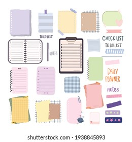 Blank set of paper notes.Hand drawn doodle lined note paper. Notebook, list, planner and diary, bullet journal paper sheets. Isolated on white background