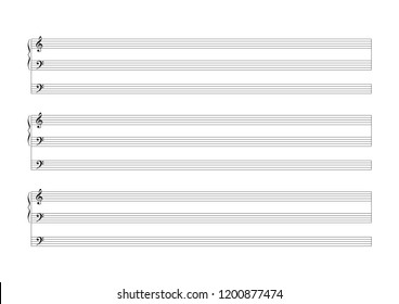 Blank Sheet Music 9 staves with clefs Sheet for the notation of compositions for organ, with a separate stave for the pedalboard