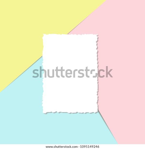 Blank Sheet Paper Postcard Template Torn Stock Vector