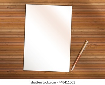 Blank sheet of white paper on wooden table. Brown premium rollerball pen near it. Copy space for Your custom printed or written text. Vector Illustration.