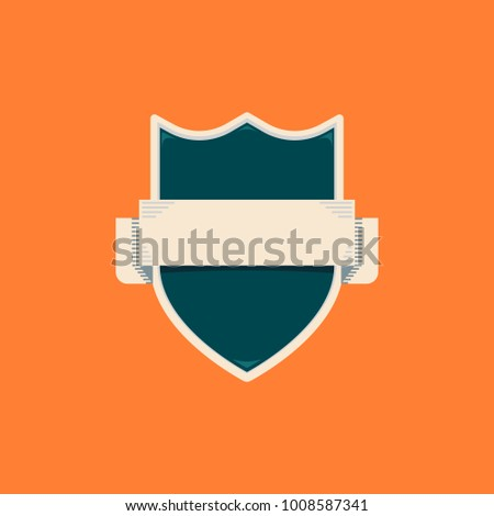 Blank Shield Badge With Horizontal Banner Text Template