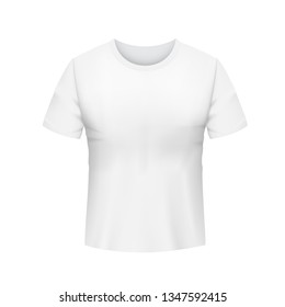Blank shirt template. White men's t-shirt realistic mockup. Isolated vector illustration on white background.