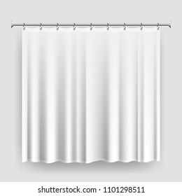 Blank shower curtain template or mock-up, realistic white curtain with steel hooks and rod, waterproof bathroom curtain, editable shower interior accessory vector illustration