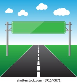 Blank sign over the road in blue sky isolated vector illustration