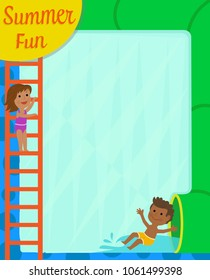 Blank sign with water slide as a border and kids having fun. Eps10