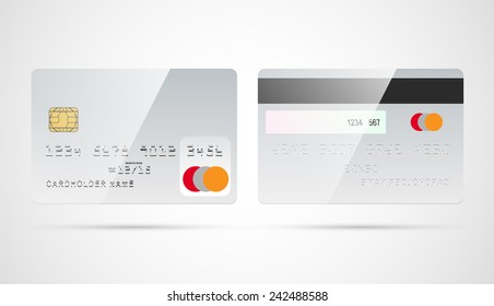 Blank silver debit or credit card template with chip and magnetic tape