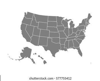 Blank similar USA map isolated on white background. United States of America country. Vector template for website, design, cover, infographics. Graph illustration.