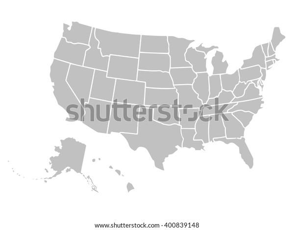 Blank Similar Usa Map Isolated On Stock Vector  Royalty