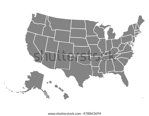 Blank Similar Usa Map Isolated On Stock Image   Download Now