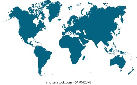 Blank similar world map isolated on white background. Best popular worldmap vector template for website, design, cover, annual reports, infographics. Flat earth graph world map illustration.