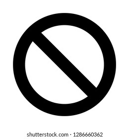 Blank simple ban, prohibition, forbidden, No Sign black symbol isolated on white background. vector illustration.