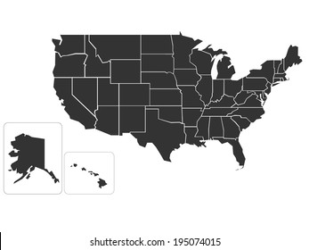 blank simplified map of usa