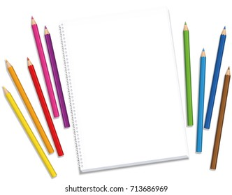Blank Sketchpad with colored crayons spaced around the blank paper waiting for the artists inspiration and creative ideas - isolated vector illustration on white background.