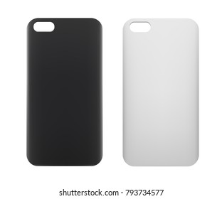 Blank smartphone case. White and black phone case mockup
