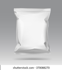 Blank snack bag on gray background. Vector illustration