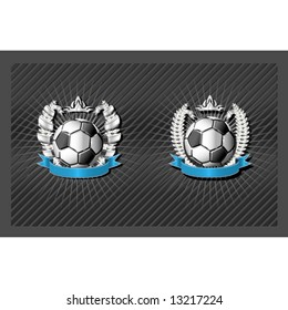 Blank Soccer emblem template with wreath and ribbon