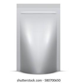 Blank soft standing packaging with zip lock isolated on white background. Vector illustration.